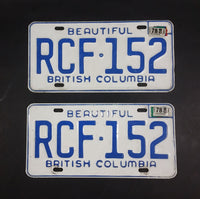 1978 Beautiful British Columbia White with Blue Letters Vehicle License Plate Set of 2 RCF 152