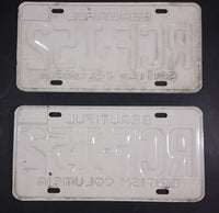 1978 Beautiful British Columbia White with Blue Letters Vehicle License Plate Set of 2 RCF 152 - Treasure Valley Antiques & Collectibles