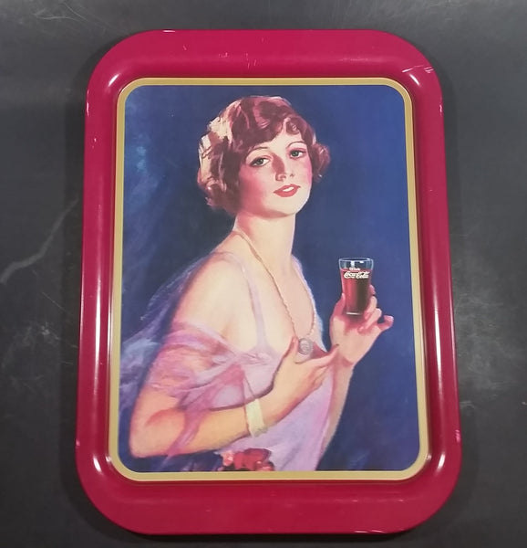1974 Coca-Cola Coke Soda Pop 1927 Calendar Girl Pink Magenta Metal Beverage Serving Tray - Treasure Valley Antiques & Collectibles