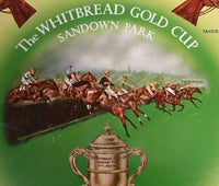 Vintage 1960s The Whitbread Gold Cup Sandown Park Round Beverage Serving Tray - Treasure Valley Antiques & Collectibles