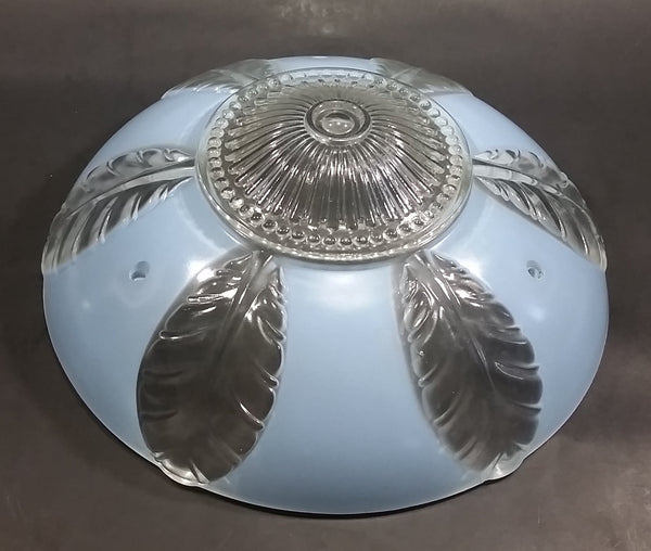Vintage Gorgeous Clear and Light Blue Leaves Highly Decorated Glass Hanging Lamp Shade - Treasure Valley Antiques & Collectibles