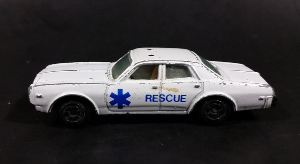 1980s Yatming Dodge Monaco White Rescue Die Cast Toy Car Emergency Vehicle - Treasure Valley Antiques & Collectibles