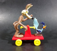 1989 Warner Bros. Looney Tunes Wile E. Coyote & Roadrunner Train Handcar Toy Riders