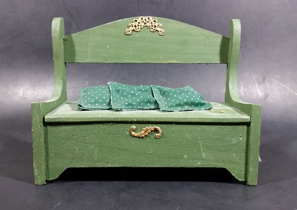 Vintage Small Wooden Green Doll Bench With Storage, 3 Little Pillows and Golden Trim Decor - Treasure Valley Antiques & Collectibles