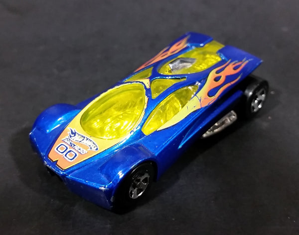 2005 Hot Wheels Track Aces Sling Shot Blue Yellow Orange 00 Die Cast Toy Car Vehicle - Treasure Valley Antiques & Collectibles