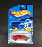 2001 Hot Wheels 1968 Ford Mustang Red Die Cast Toy Car #126 50656 New w/ Blue Card - Opening Hood - Treasure Valley Antiques & Collectibles