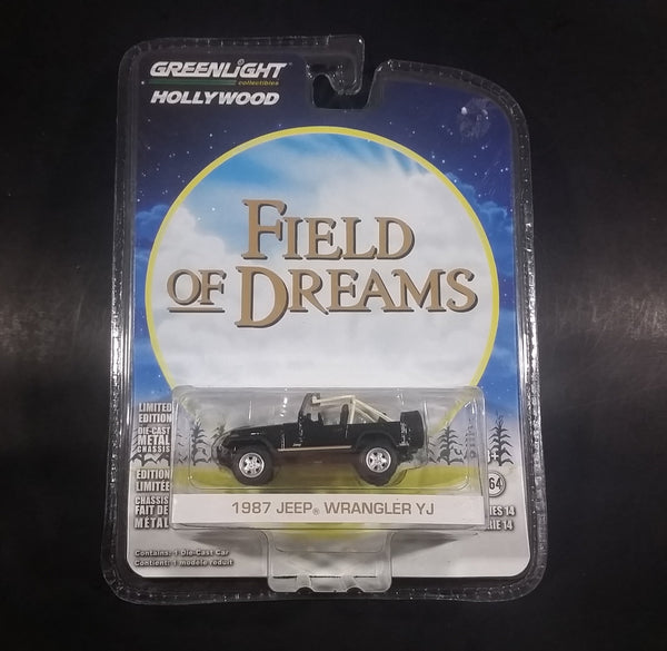 Greenlight Hollywood Collectibles Field of Dreams Movie 1987 Jeep Wrangler YJ Black Die Cast Toy Car - New in Package - 1:64 Scale - Treasure Valley Antiques & Collectibles