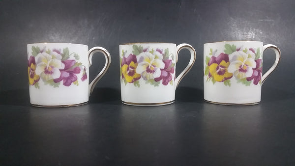 1930-1950 Crown Staffordshire Set of 3 Purple Yellow White Floral Fine Bone China Tea Cups - Treasure Valley Antiques & Collectibles