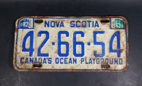 1970s 1980s Nova Scotia Canada's Ocean Playground White with Blue Letters Vehicle License Plate - Multple Stickers - Treasure Valley Antiques & Collectibles