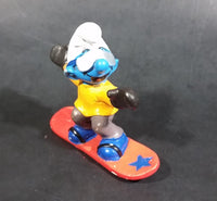 "1997 Schleich Germany Peyo Puffo Smurf Snowboarder 2 3/8"" PVC Figurine - Made in Portugal - Treasure Valley Antiques & Collectibles"