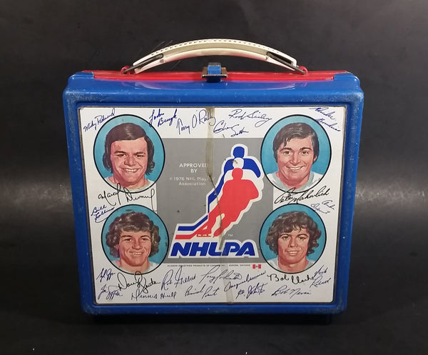Very Rare 1976 NHLPA NHL Ice Hockey Players Association Blue Red Signatures Lunch Box (No Thermos)