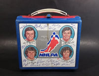 Very Rare 1976 NHLPA NHL Ice Hockey Players Association Blue Red Signatures Lunch Box (No Thermos) - Treasure Valley Antiques & Collectibles