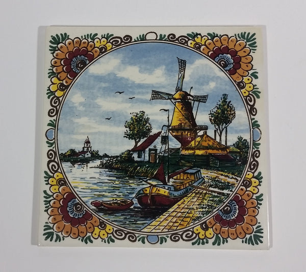 Rare 1960s Delft Polychrome Holland Handpainted Colored Windmill, Cottage, and Shoreline Ceramic Tile