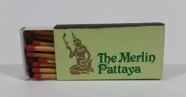 The Merlin Pattaya, Cholburi, Thailand Souvenir Promo Wooden Matches Box - Nearly Full - Treasure Valley Antiques & Collectibles