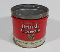 Vintage Macdonald British Consols Extra Fine Cut Cigarette Tobacco Red and White Tin No Lid - Treasure Valley Antiques & Collectibles