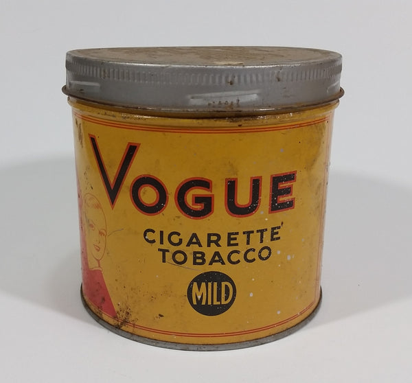 Vintage 1960s Vogue Mild Cigarette Tobacco Tin w/ Lid - Treasure Valley Antiques & Collectibles