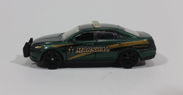 2014 Matchbox Heroic Rescue Ford Police Interceptor Dark Green Die Cast Car Toy Police Emergency Vehicle - Treasure Valley Antiques & Collectibles