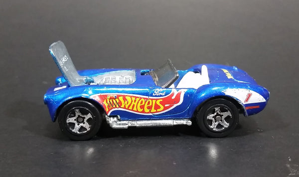 1998 Hot Wheels Race Team Series IV Shelby Cobra 427 S/C Blue #1 Die Cast Toy Car Vehicle - Opening Hood - Treasure Valley Antiques & Collectibles