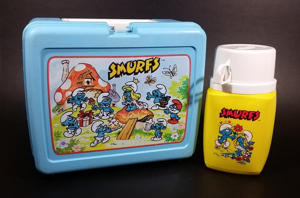 Vintage Collectible 1980s Thermos Brand Smurfs Blue Lunchbox with Yellow 8 oz Thermos - Treasure Valley Antiques & Collectibles