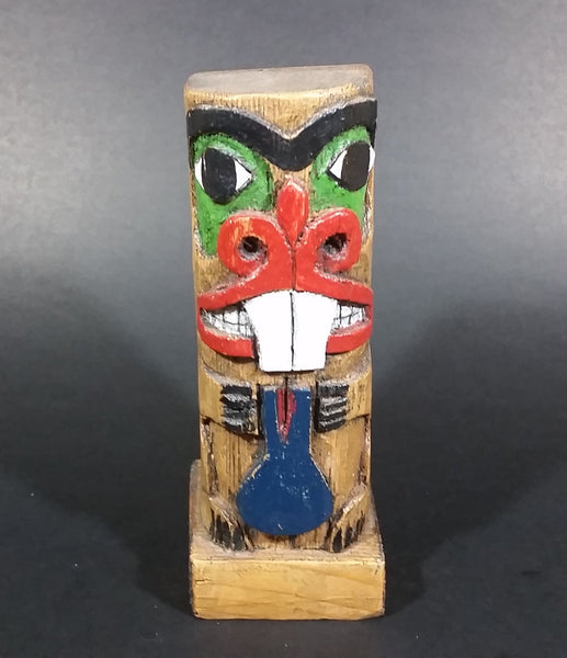 "Pacific Northwest Aboriginal Small Colored Beaver Animal Carved 5 1/2"" Wood Totem Pole Signed E.F.W. - Treasure Valley Antiques & Collectibles"
