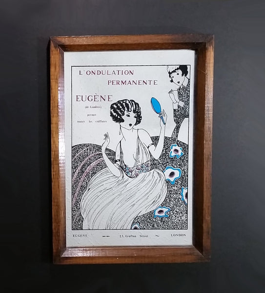 Vintage French Eugene 23, Grafton Street London Perm Hair Styling Advertising Mirror - Treasure Valley Antiques & Collectibles