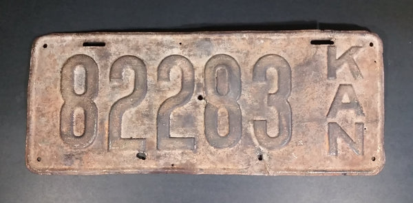 "Rare 1918 Kansas License Plate 82283 - Passenger Vehicle - Vertical ""KAN"" - Rusted as found condition - Treasure Valley Antiques & Collectibles"