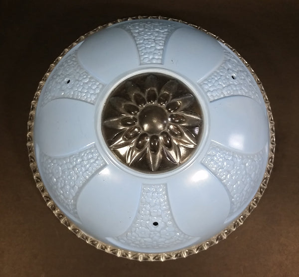 Vintage Gorgeous Clear and Light Blue Flower Highly Decorated Glass Hanging Lamp Shade - Treasure Valley Antiques & Collectibles
