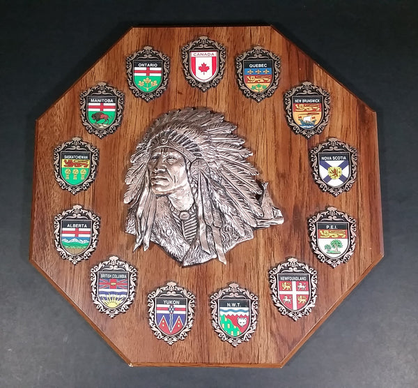 Vintage A & F Canada Native Aboriginal Chief w/ Provinces & Territories Wood Plaque Wall Hanging - Treasure Valley Antiques & Collectibles