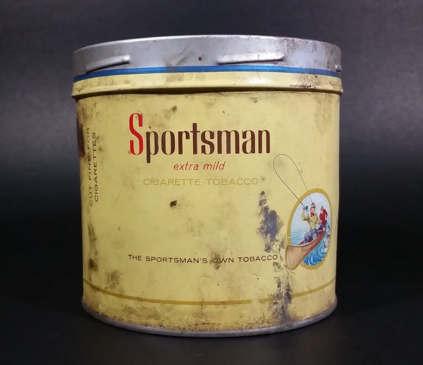1960s Sportsman Extra Mild Cigarette Tobacco Tin No Lid has Grease marks - Treasure Valley Antiques & Collectibles