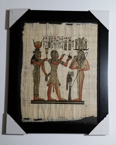 "Egyptian Painting on Papyrus Paper 17"" x 21"" Framed with Original Cardboard Packaging - Treasure Valley Antiques & Collectibles"