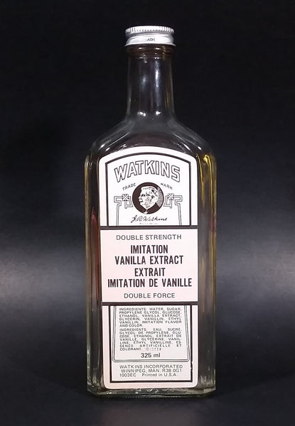 Vintage Watkins Double Strength Imitation Vanilla Extract 325mL Large Clear Glass Bottle w/ Lid - Treasure Valley Antiques & Collectibles