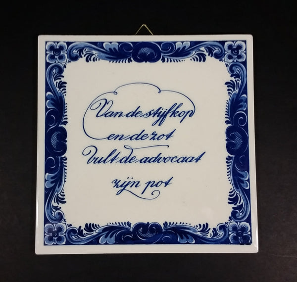 "Vintage Delft Blue Holland ""From The Arrogant and Foolish The Lawyer Becomes Rich"" Ceramic Tile Trivet - Treasure Valley Antiques & Collectibles"