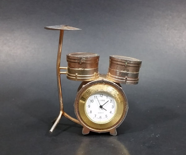 Small Miniature Novelty Drum Set Alpine Quartz Desk Clock Ornament - Needs Battery - Some Wear - Treasure Valley Antiques & Collectibles