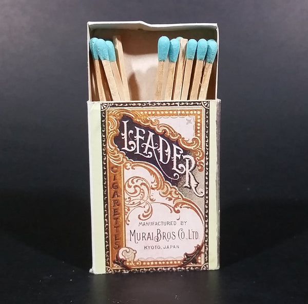 Vintage Murai Bros. Kyoto Japan Leader Cigarettes Wooden Matches Box Pack Promotional Souvenir Travel Collectible - Treasure Valley Antiques & Collectibles