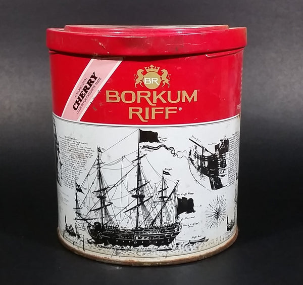 Vintage 1980s Borkum Riff Cherry Liqueur Flavor 12 oz Pipe Tobacco Tin - Empty - Treasure Valley Antiques & Collectibles