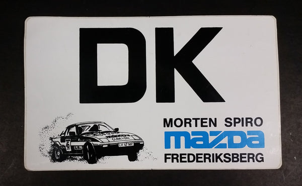 1980s Mazda Frederiksberg, Denmark Morten Spiro Rally Car Racing Driver Promotional Sticker - Treasure Valley Antiques & Collectibles