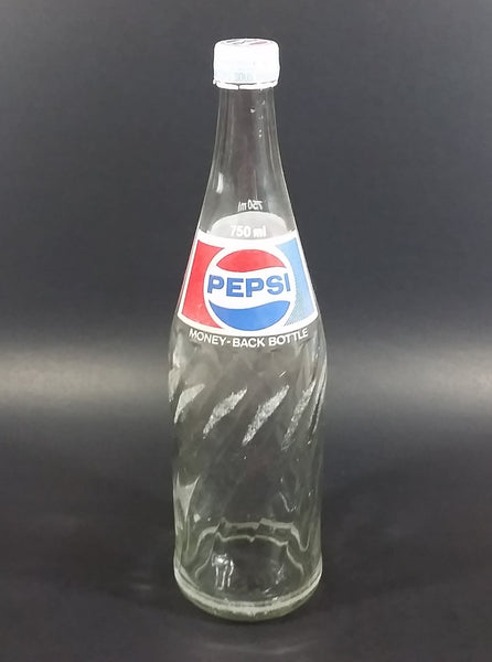 Vintage 1979 Pepsi Cola Soda Pop Beverage 750 mL English French Clear Glass Twist Bottle w/ Cap - Treasure Valley Antiques & Collectibles