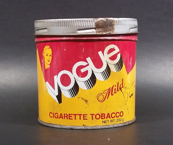 Vintage 1960s Vogue Mild Cigarette Tobacco Tin with Lid (Some light denting, pin holes on bottom) - Treasure Valley Antiques & Collectibles