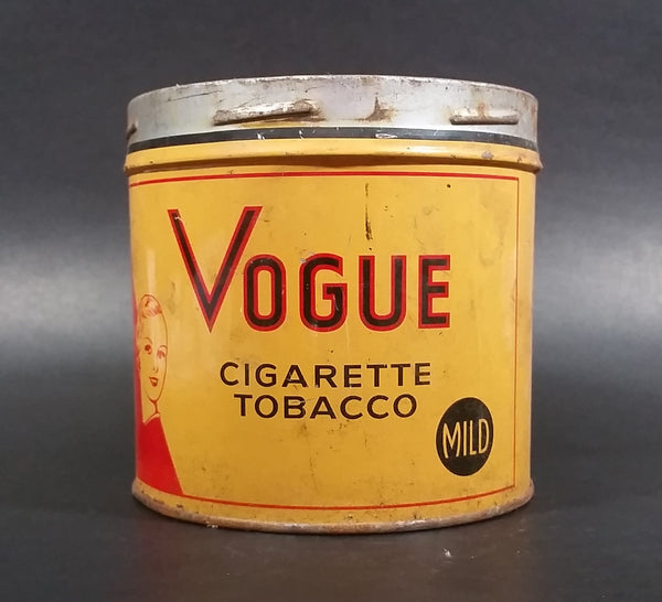 1960s Vogue Mild Cigarette Tobacco Tin no Lid - Treasure Valley Antiques & Collectibles