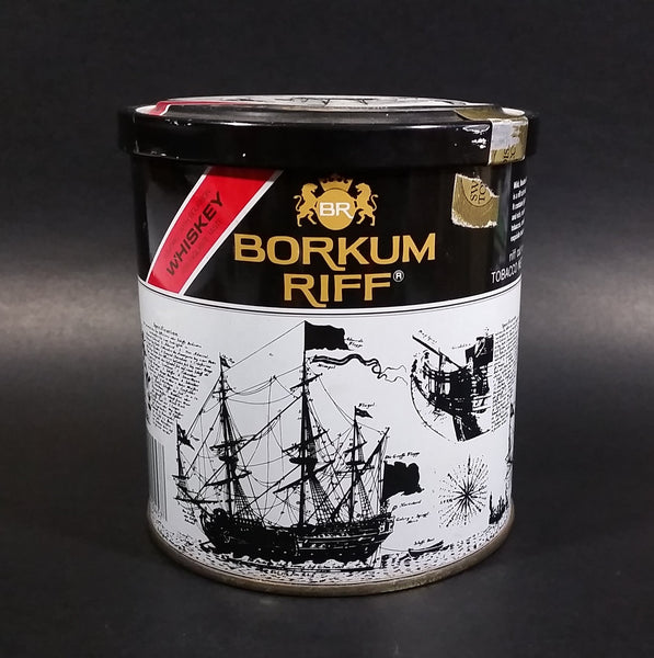 Vintage Borkum Riff Bourbon Whiskey 12 oz Pipe Tobacco Tin - Empty - Treasure Valley Antiques & Collectibles