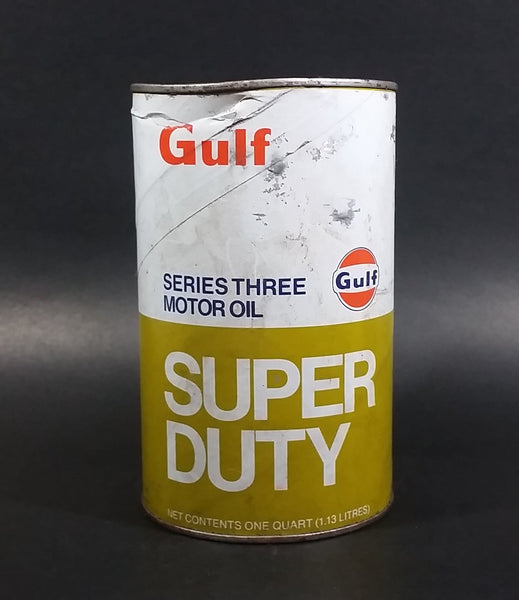 Vintage Gulf Super Duty Series 3 Heavy Duty Motor Oil 1.13L Can Full Never Opened Cardboard with Metal Ends - Treasure Valley Antiques & Collectibles