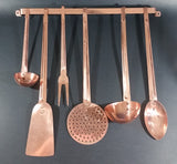 Vintage Copper Kitchen Utensil 7 Piece Set Including Wall Hanging Bar - Made in Taiwan - Treasure Valley Antiques & Collectibles