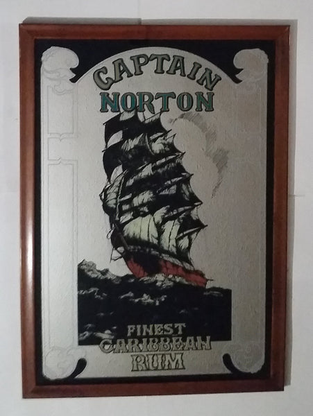 "Vintage Large Captain Norton Finest Caribbean Rum Ship 34"" x 24"" Wood Framed Pub Mirror - Treasure Valley Antiques & Collectibles"