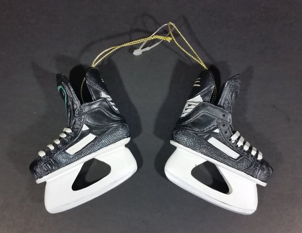 "Black and White Resin Pair of Ice Hockey Skates 3 1/2"" Hanging Ornament"