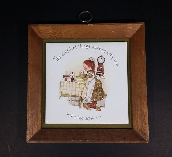 "Vintage Holly Hobbie ""The simplest things served with love mean the most"" Wood Framed Ceramic Tile Trivet - Treasure Valley Antiques & Collectibles"