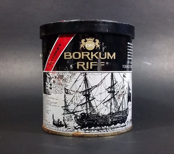 Vintage Early 1970s Borkum Riff Bourbon Whiskey 6 oz Pipe Tobacco Tin - Empty - Treasure Valley Antiques & Collectibles