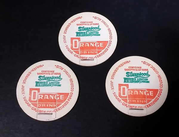 3 Vintage Silverwood Dairies Orange Drink Milk Bottle Caps - Treasure Valley Antiques & Collectibles