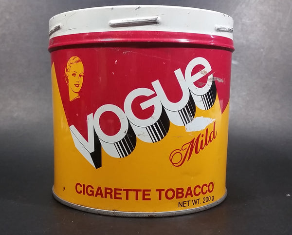 Vintage Vogue Mild 200g Tobacco Tin Canister English and French No Lid - Treasure Valley Antiques & Collectibles