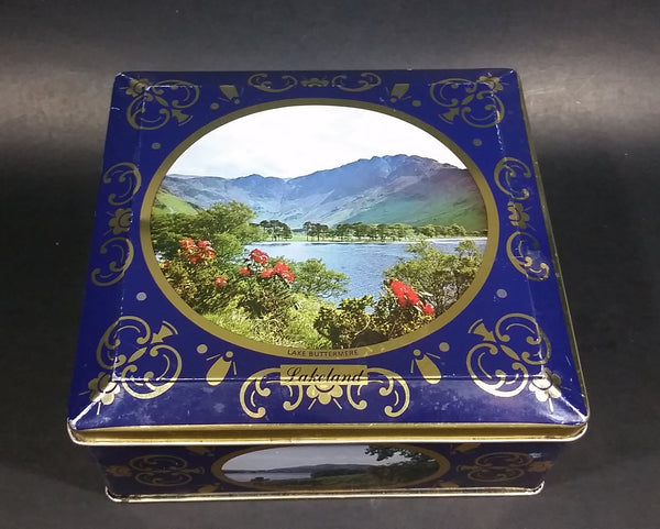 Vintage St Michael Marks & Spencer Biscuits Tin Blue with Gold Motif -  Lake Scenes on each side - Treasure Valley Antiques & Collectibles