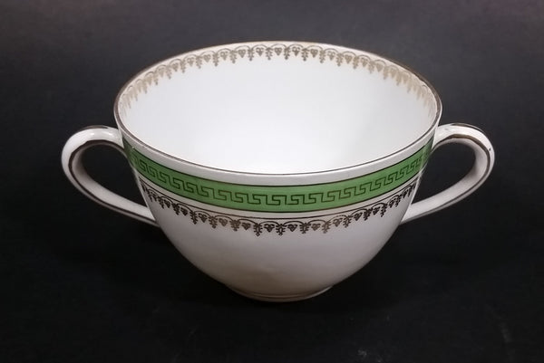 Imperial Crown China Austria Double Handle Tea Cup With Green and Golden Trim - Treasure Valley Antiques & Collectibles